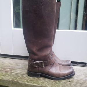 Frye Heath Tall taupe leather boots.